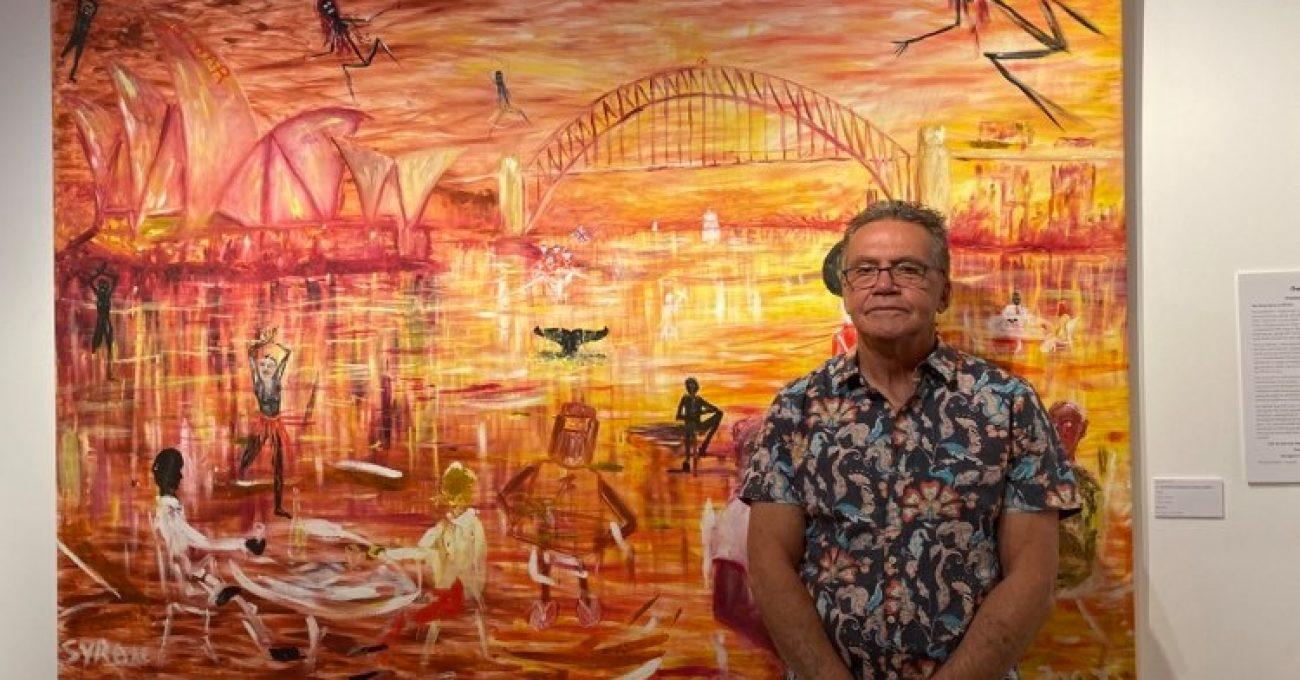 Gordon Syron - An Aboriginal Perspective of Sydney Harbour - 2003 -oil on canvas -235cm X 172cm
